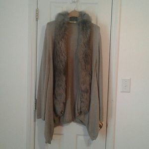 Soft Surroundings open front cardigan with fur